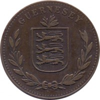 obverse of 8 Doubles - George V / George VI (1914 - 1949) coin with KM# 14 from Guernsey. Inscription: GUERNESEY