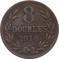 reverse of 8 Doubles - George V / George VI (1914 - 1949) coin with KM# 14 from Guernsey. Inscription: 8 DOUBLES 1918 H