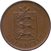 obverse of 4 Doubles - William IV / Victoria (1830 - 1858) coin with KM# 2 from Guernsey. Inscription: GUERNESEY