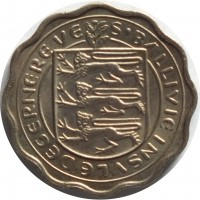 obverse of 3 Pence - Elizabeth II - Thicker (1959 - 1966) coin with KM# 18 from Guernsey. Inscription: S'BALLIVIE INSULE DEGERNEREVE
