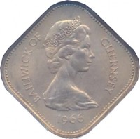 obverse of 10 Shillings - Elizabeth II - William I - 2'nd Portrait (1966) coin with KM# 19 from Guernsey. Inscription: BAILIWICK OF GUERNSEY 1966