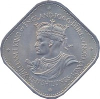 reverse of 10 Shillings - Elizabeth II - William I - 2'nd Portrait (1966) coin with KM# 19 from Guernsey. Inscription: WILLIAM I KING of ENGLAND · 1066 · DUKE of NORMANDY · TEN SHILLINGS ·