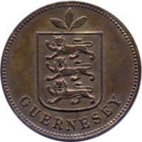 obverse of 1 Double - William IV / Victoria / Edward VII / George V (1830 - 1911) coin with KM# 10 from Guernsey. Inscription: GUERNESEY