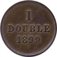 reverse of 1 Double - William IV / Victoria / Edward VII / George V (1830 - 1911) coin with KM# 10 from Guernsey. Inscription: 1 DOUBLE 1899 H