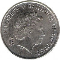 obverse of 10 Pence - Elizabeth II - 4'th Portrait (2003 - 2006) coin with KM# 149 from Guernsey. Inscription: ELIZABETH II BAILIWICK OF GUERNSEY IRB