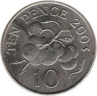 reverse of 10 Pence - Elizabeth II - 4'th Portrait (2003 - 2006) coin with KM# 149 from Guernsey. Inscription: TEN PENCE 2003 10