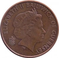 obverse of 2 Pence - Elizabeth II - 4'th Portrait (1999 - 2012) coin with KM# 96 from Guernsey. Inscription: ELIZABETH II BAILIWICK OF GUERNSEY IRB