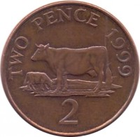 reverse of 2 Pence - Elizabeth II - 4'th Portrait (1999 - 2012) coin with KM# 96 from Guernsey. Inscription: TWO PENCE 1999 2