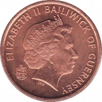 obverse of 1 Penny - Elizabeth II - 4'th Portrait (1998 - 2012) coin with KM# 89 from Guernsey. Inscription: ELIZABETH II BAILIWICK OF GUERNSEY IRB