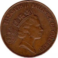 obverse of 2 Pence - Elizabeth II - 3'rd Portrait (1985 - 1990) coin with KM# 41 from Guernsey. Inscription: ELIZABETH II BAILIWICK OF GUERNSEY