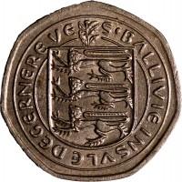 obverse of 20 Pence - Elizabeth II (1982 - 1983) coin with KM# 38 from Guernsey. Inscription: S'BALLIVIE INSVLE DEGERNERE VE