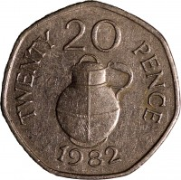reverse of 20 Pence - Elizabeth II (1982 - 1983) coin with KM# 38 from Guernsey. Inscription: TWENTY 20 PENCE 1982