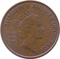 obverse of 1 Penny - Elizabeth II - 3'rd Portrait (1985 - 1990) coin with KM# 40 from Guernsey. Inscription: ELIZABETH II BAILIWICK OF GUERNSEY