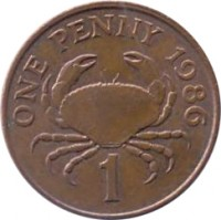 reverse of 1 Penny - Elizabeth II - 3'rd Portrait (1985 - 1990) coin with KM# 40 from Guernsey. Inscription: ONE PENNY 1986 1