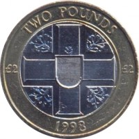 reverse of 2 Pounds - Elizabeth II - 4'th Portrait (1998 - 2012) coin with KM# 83 from Guernsey. Inscription: TWO POUNDS £2 £2 1998
