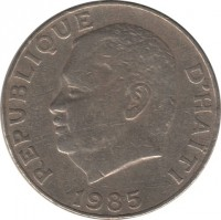 obverse of 50 Centimes (1975 - 1985) coin with KM# 101a from Haiti. Inscription: REPUBLIQUE D'HAITI 1983