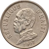 obverse of 20 Centimes (1907 - 1908) coin with KM# 55 from Haiti. Inscription: RÉPUBLIQUE D'HAITI 1907
