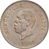 obverse of 10 Centimes (1906) coin with KM# 54 from Haiti. Inscription: REPUBLIQUE D'HAITI 1906