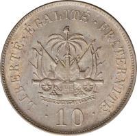 reverse of 10 Centimes (1906) coin with KM# 54 from Haiti. Inscription: LIBERTÉ . ÉGALITÉ . FRATERNITÉ .10.