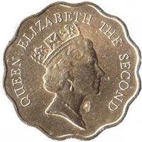obverse of 20 Cents - Elizabeth II - 3'rd Portrait (1985 - 1991) coin with KM# 59 from Hong Kong. Inscription: QUEEN ELIZABETH THE SECOND