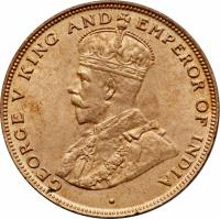 obverse of 1 Cent - George V - Larger (1919 - 1926) coin with KM# 16 from Hong Kong. Inscription: · GEORGE V KING AND EMPEROR OF INDIA
