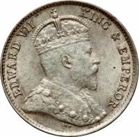 obverse of 5 Cents - Edward VII (1903 - 1905) coin with KM# 12 from Hong Kong. Inscription: EDWARD VII KING & EMPEROR