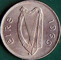 obverse of 6 Pingin (1942 - 1969) coin with KM# 13a from Ireland. Inscription: eIRe 1964