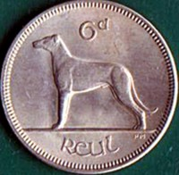 reverse of 6 Pingin (1942 - 1969) coin with KM# 13a from Ireland. Inscription: 6d ReuL