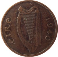 obverse of 1/2 Pingin (1939 - 1967) coin with KM# 10 from Ireland. Inscription: éIRe 1940