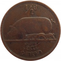 reverse of 1/2 Pingin (1939 - 1967) coin with KM# 10 from Ireland. Inscription: 1/2d leat pingin