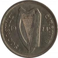 obverse of 6 Pingin (1928 - 1935) coin with KM# 5 from Ireland. Inscription: saorstat éireann 19 28