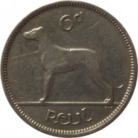 reverse of 6 Pingin (1928 - 1935) coin with KM# 5 from Ireland. Inscription: 6d reul