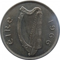obverse of 1/2 Crown (1951 - 1967) coin with KM# 16a from Ireland. Inscription: éIRe 1966
