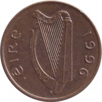 obverse of 1 Pingin (1988 - 2000) coin with KM# 20a from Ireland. Inscription: éIRe 1996