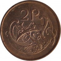 reverse of 2 Pingin (1988 - 2000) coin with KM# 21a from Ireland. Inscription: 2P