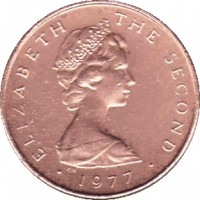 obverse of 1/2 Penny - Elizabeth II - FAO - 2'nd Portrait (1977) coin with KM# 40 from Isle of Man. Inscription: ELIZABETH THE SECOND · 1977 ·