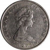obverse of 5 New Pence - Elizabeth II - 2'nd Portrait (1971 - 1975) coin with KM# 22 from Isle of Man. Inscription: ELIZABETH THE SECOND · 1975 ·