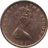 obverse of 1/2 New Penny - Elizabeth II - 2'nd Portrait (1971 - 1975) coin with KM# 19 from Isle of Man. Inscription: ELIZABETH THE SECOND · 1971 ·