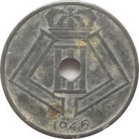 obverse of 25 Centimes - Leopold III - BELGIQUE-BELGIE (1941 - 1947) coin with KM# 131 from Belgium. Inscription: 1946