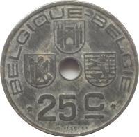 reverse of 25 Centimes - Leopold III - BELGIQUE-BELGIE (1941 - 1947) coin with KM# 131 from Belgium. Inscription: BELGIQUE-BELGIE 25C O.JESPERS