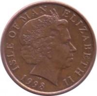 obverse of 1 Penny - Elizabeth II - 4'th Portrait (1998 - 1999) coin with KM# 823 from Isle of Man. Inscription: ISLE OF MAN ELIZABETH II 1998