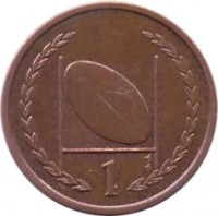reverse of 1 Penny - Elizabeth II - 4'th Portrait (1998 - 1999) coin with KM# 823 from Isle of Man. Inscription: 1 AB