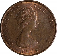 obverse of 1 Penny - Elizabeth II - 2'nd Portrait (1976 - 1979) coin with KM# 33 from Isle of Man. Inscription: ELIZABETH THE SECOND · 1979 ·