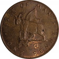 reverse of 1 Penny - Elizabeth II - 2'nd Portrait (1976 - 1979) coin with KM# 33 from Isle of Man. Inscription: · ISLE OF MAN · ONE PENNY
