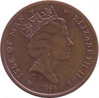 obverse of 2 Pence - Elizabeth II - 3'rd Portrait (1996 - 1997) coin with KM# 589 from Isle of Man. Inscription: ISLE OF MAN ELIZABETH II 1996