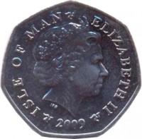 obverse of 50 Pence - Elizabeth II - 4'th Portrait (2004 - 2015) coin with KM# 1258 from Isle of Man. Inscription: ISLE OF MAN ELIZABETH II 2009