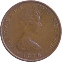 obverse of 2 Pence - Elizabeth II - 2'nd Portrait (1976 - 1979) coin with KM# 34 from Isle of Man. Inscription: ELIZABETH THE SECOND · 1976 ·