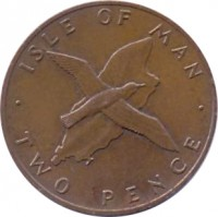 reverse of 2 Pence - Elizabeth II - 2'nd Portrait (1976 - 1979) coin with KM# 34 from Isle of Man. Inscription: ISLE OF MAN · TWO PENCE ·