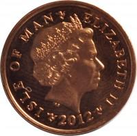 obverse of 1 Penny - Elizabeth II - 4'th Portrait (2004 - 2015) coin with KM# 1253 from Isle of Man. Inscription: ISLE OF MAN ELIZABETH II 2012