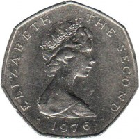 obverse of 50 Pence - Elizabeth II - 2'nd Portrait (1976 - 1979) coin with KM# 39 from Isle of Man. Inscription: ELIZABETH THE SECOND · 1976 ·